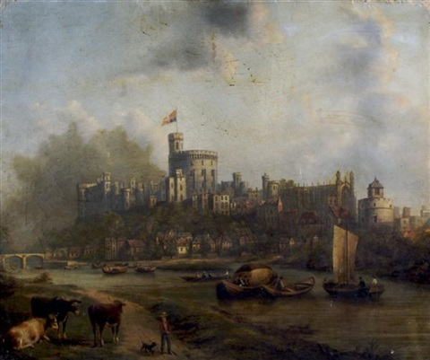 windsor castle flying the queens flag by henry c gritten