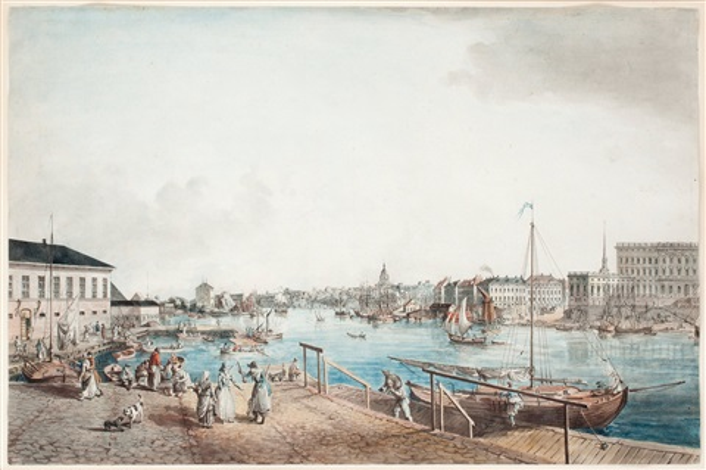 utsigt af stockholm tagen ifrån ingången till blasiiholmen from svenska vuer by johan fredrik martin