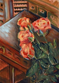salmon roses in studio by regina bartsh
