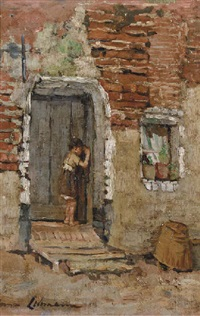 girl entering a house in brittany (+ a farmer's village; 2 works) by anna lehmann