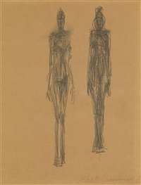 deux femmes nues debout by alberto giacometti