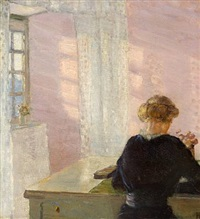 interior with a reading woman on a sunny day by helga ancher