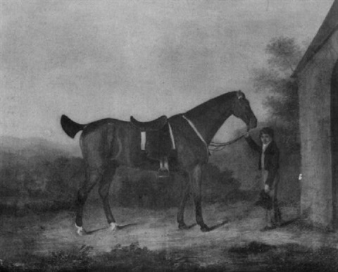 croc a saddled bay hunter the property of george 9th earl of dalhousie held by a small boy by james howie