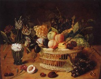 a still life of a basket of fruit with flowers in a vase by ambrosius bosschaert the younger