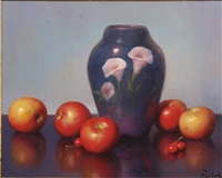 still life with fruit and vase by al jackson