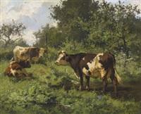 weidende kühe an einem sommertag by aymar (aimard alexandre) pezant