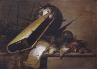 vanitas-stilleben mit der bibel, einem globus mit den tierkreiszeichen und erlegtem federwild by petrus schotanus