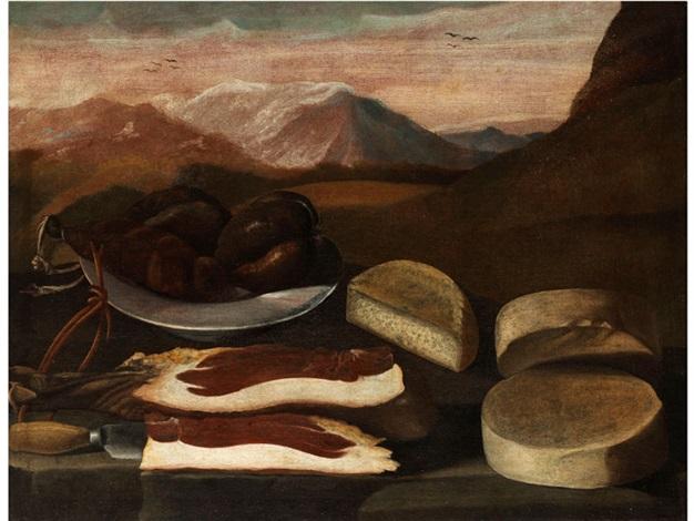 grosses stilleben mit würsten schinken und käse by anonymous italian 17