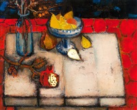 still life on red by christina snellman