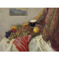 still life with fruit and teacup by v.m. petrov