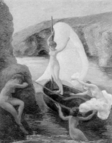 unbekleidete frauen mit segelboot an felsiger küste by pierre braquemond