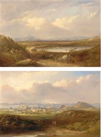 the lake of menteith (+ a prospect of edinburgh, 1851; 2 works) by henry g. duguid