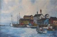 port scene fishing harbor by robert lebron