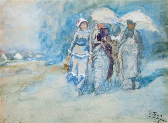 elegante vrouwen flanerend op het strand by jan toorop