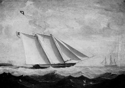 portrait of a topsail schooner under shortened sail by fitz henry lane