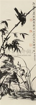 竹雀图 (bamboo and sparrow) by ruo piao, tang yun and jiang hanting