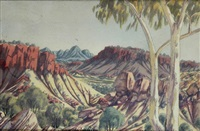 view through a valley by oscar namatjira