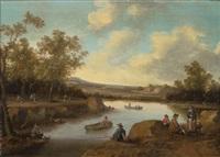 river landscape by cornelis droochsloot
