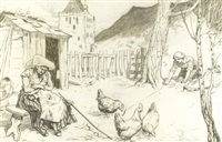 this he threw in front of one of the hens by arthur rackham