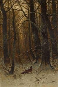 fuchs im winterwald by johann jungblut