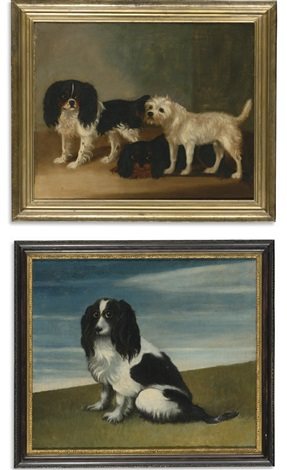 two king charles spaniels and a terrier king charles spaniel 2 works by british school 19
