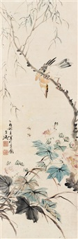 柳禽图 镜片 设色纸本 ( bird and flower) by wang xuetao
