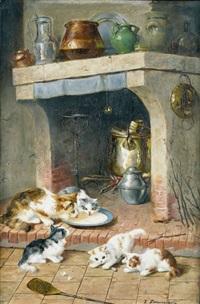 spielende katzenkinder in einer küche by victor demongin