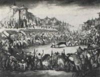 fiesta de toros en la plaza de chinchon by fermin santos