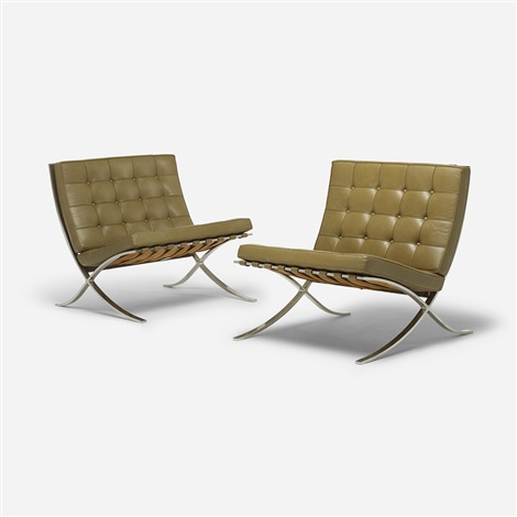 barcelona chairs pair by ludwig mies van der rohe