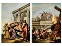 jesus wird das kreuz aufgelegt (+ der gefangen genommene jesus wird dem volk vorgeführt; pair) by francesco zugno the younger