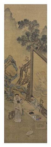 a calligraphy lesson depicting a student a teacher and an elder practicing on a scroll table in a garden setting by zhou xun