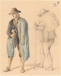 bayerische bäuerinnen, hirten und ein jäger (6 works, various sizes, 1 pencil on paper) by johann fischbach
