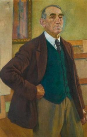 autoportrait au gilet vert by théo van rysselberghe