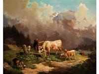 vieh im hochgebirge an der tränke by louis (ludwig) reinhardt