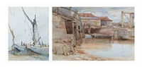 fishing boats in the harbour at southend (+ a wharf; 2 works) by william leighton leitch