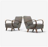 lounge chairs, pair by jindrich halabala
