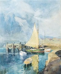 fishing boats at anchor, table bay harbour by charles e. peers