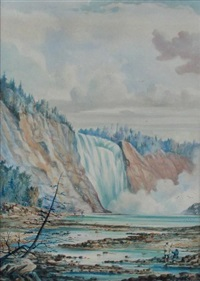 fishing under a waterfall, artist in the foreground by william armstrong