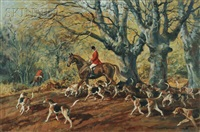 huntsman and hounds in a fall woodland by john theodore eardley kenney
