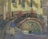 saint mark's cathedral, venice (+ morning shoppers, venice, oil on board, smllr; 2 works) by mary jackson