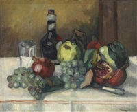 nature morte, coings, grenades et raisins by henri charles manguin