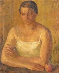 portrait de femme à la pomme by luc lafnet