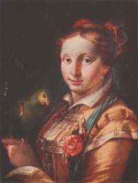 a young lady holding a parrot by giovanni raggi