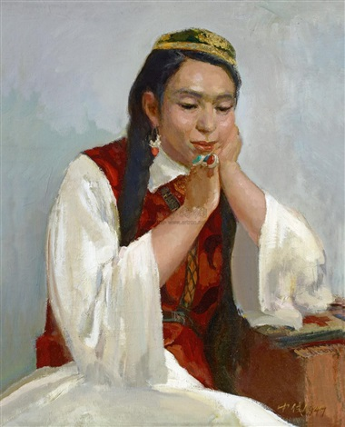 dai ailian in uygur costumes by ai zhongxin