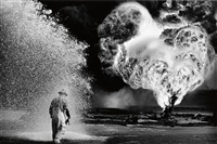 kuwait series, greater burhan oil field (worker covered with foam) by sebastião salgado