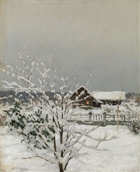 winter landscape by sergei ivanovich endogouroff