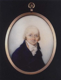 a portrait of an elderly gentleman with short powdered hair, wearing royal blue coat with cream waistcoat and tied white cravat by thomas hull