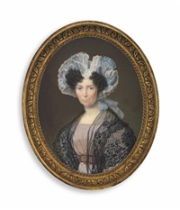 a lady, in lilac dress with burgundy-bordered belt with gold buckle, black lace shawl over her shoulders, wearing a frilled- edge white mob cap with blue ribbons by bouvier