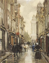 a view of the spuistraat, the hague by floris arntzenius