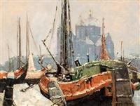 boten aan de kade bij winterse nicolaaskerk te amsterdam by jan den hengst